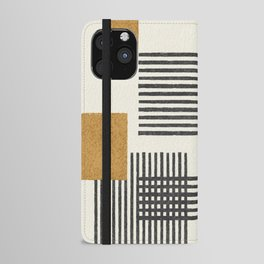 Stripes and Square Composition - Abstract iPhone Wallet Case