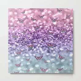 Pastel Unicorn Butterfly Glitter Dream #3 #shiny #decor #art #society6 Metal Print
