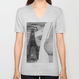 Enjoying the views. Nude woman over the city of London Unisex V-Neck