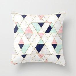 Mod Triangles - Navy Blush Mint Throw Pillow