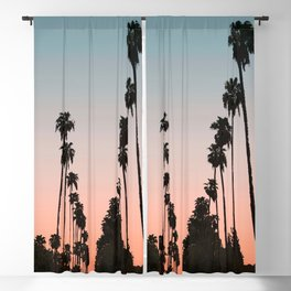 California Sunset // Palm Tree Silhouette Street View Orange and Blue Color Sky Beach Photography Blackout Curtain