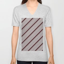 Pantone Red Pear and White Thick and Thin Angled Lines - Diagonal Stripes Unisex V-Neck