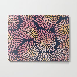Navy and Pink Watercolor Firework Flower Metal Print