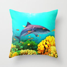Shark in the water Throw Pillow