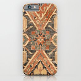 Geometric Leaves III // 18th Century Distressed Red Blue Green Colorful Ornate Accent Rug Pattern iPhone Case