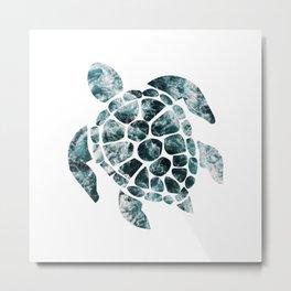 Sea Turtle - Turquoise Ocean Waves Metal Print