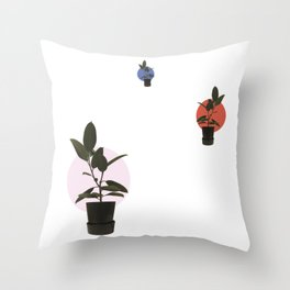 Ficus elastica, harmony and perspective Throw Pillow