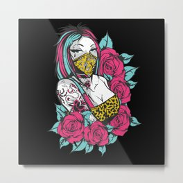 Tattoo Girl With Rose And Face Mask Metal Print