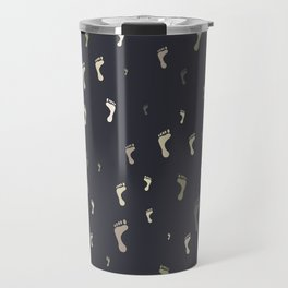 Drawing of feet of different sizes and colors on a neutral background Travel Mug