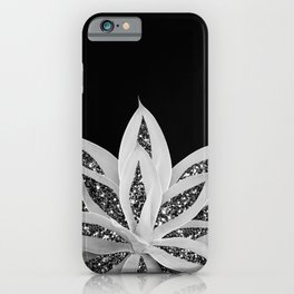 Gray Agave with Black Silver Glitter #2 #shiny #tropical #decor #art #society6 iPhone Case