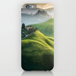 Rolling Green Hills and Wine Vineyards of Tuscany, Italy landscape painting iPhone Case