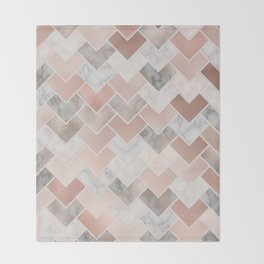 Rose Gold and Marble Geometric Tiles Throw Blanket
