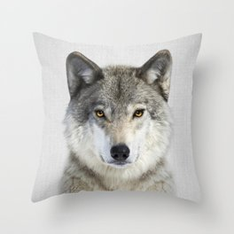 Wolf 2 - Colorful Throw Pillow
