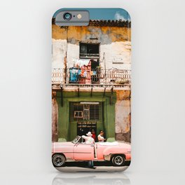 Pink Car in Havana, Cuba Photography iPhone Case