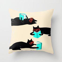 Book bag black cat reads stories Throw Pillow