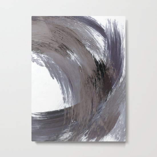 Navy Blue and Grey Minimalist Abstract Brushstroke Painting by mininst