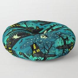 Halloween Night - Fox Fire Green Floor Pillow