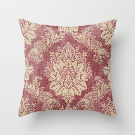 Red Cream Velvet Paisley Floral Throw Pillow
