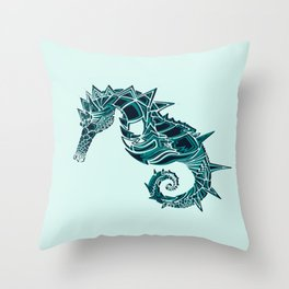 Blue Seahorse Drawing | Light background Color | Ocean Art Throw Pillow