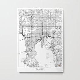 Tampa Map White Metal Print
