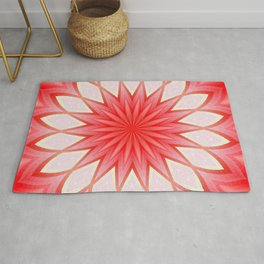 Star White And Red Kaleidoscope Floral Mandala Rug