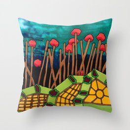 Bent Saplings Nature Center Architectural Illustration Throw Pillow
