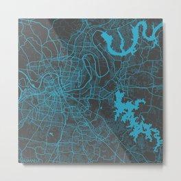 Nashville map blue Metal Print