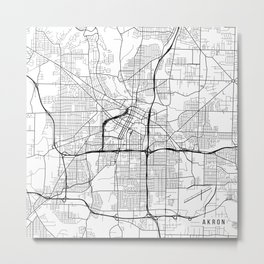 Akron Map, USA - Black and White Metal Print