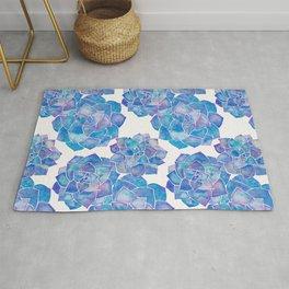 Rosette Succulents – Blue Palette Rug