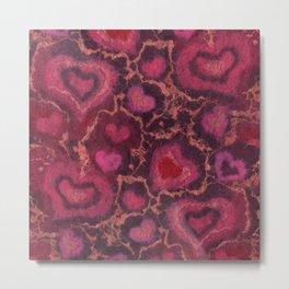Hearts, Valentine's Day Love, Pink Red Burgundy Metal Print