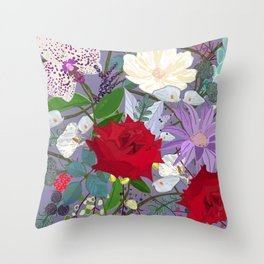 Red rose, orchid red fruits vibrant colorful pattern Throw Pillow