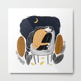 A PEACEFUL NIGHT, A Beautiful Girl With Long Hair Sleeping At Home Metal Print