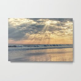 Rays From Above sun rays on Cayucos Beach Metal Print