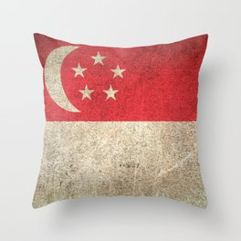 Old and Worn Distressed Vintage Flag of Singapore Throw Pillow