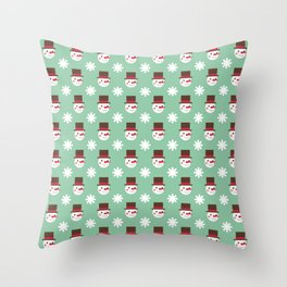 Snowman Snowflakes pattern Christmas decorations retro colors light green background Throw Pillow