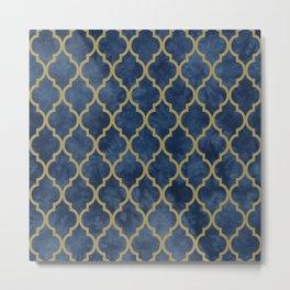 Classic Quatrefoil Lattice Pattern 428 Blue and Gold Metal Print
