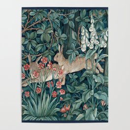 William Morris Forest Rabbits and Foxglove Greenery Poster