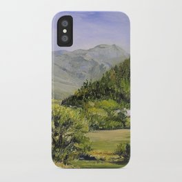 Pastures and Mount Mansfield Oil Landscape Vermont Painting iPhone Case