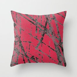 red black scratchy grunge Throw Pillow