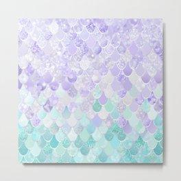 Cute, Mermaid Art, Purple and Teal Pattern Metal Print