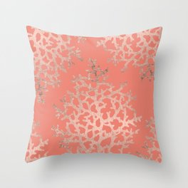 Faux rose gold coral sea hand drawn pattern salmon pattern Throw Pillow
