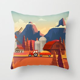 Rural Farmland Countryside Landscape Illustration Throw Pillow