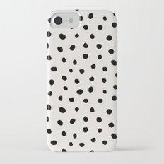 Modern Polka Dots Black on Light Gray iPhone 7 Slim Case