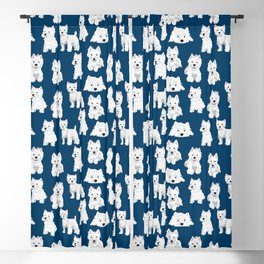 Westies on Blue Blackout Curtain