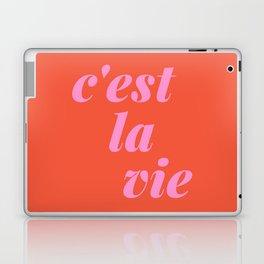 C'est La Vie French Language Saying in Bright Pink and Orange Laptop & iPad Skin