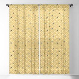 Bees on Honeycomb Pattern Sheer Curtain