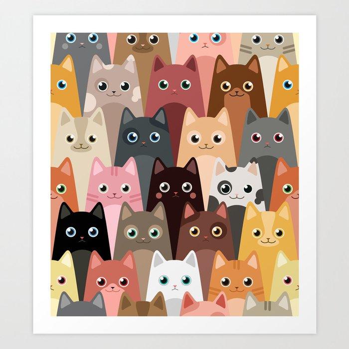 Cats Pattern Kunstdrucke