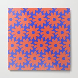 Crayon Flowers 3 Cheerful Smudgy Floral Pattern in Coral and Bright Blue Metal Print
