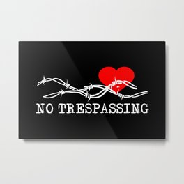 No Trespassing White On Black Horizontal Metal Print