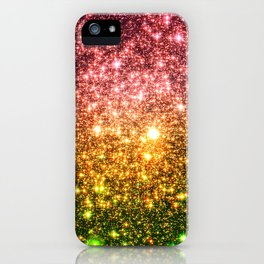 Pink Gold Green Galaxy Sparkle iPhone Case